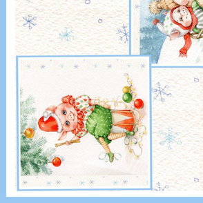 Cute pigs Piglets Christmas Winter panel