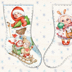 Cute Piglets Christmas stocking