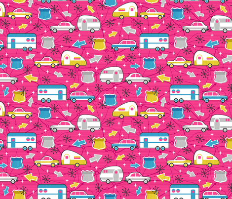 Let's Hit the Road! (Pink) fabric by robyriker on Spoonflower - custom fabric