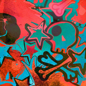 Punk rock abstract background with skulls, bones, watercolor texture.