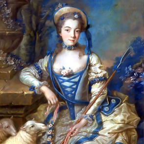 Marie Antoinette inspired blue gowns flowers floral sheep baroque victorian shepherdess little bo peep nursery rhymes corset roses bows straw hat trees vintage antique crook beauty rococo portraits beautiful lady woman elegant gothic lolita egl 18th centu