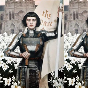 Joan of Arc Jeanne d'Arc The Maid of Orléans french france heroine woman lady warrior soldier lily lilies white flowers floral sword armor famous historical history knight fighter castles flags  medieval  flags banner