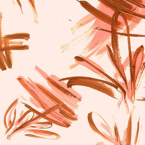 Abstract blush and bronze strokes