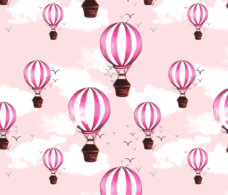 Pink Air Ballons fabric by dorinus_illustrations on Spoonflower - custom fabric