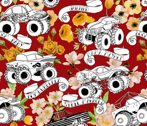 Monster Trucks - Red fabric by katebillingsley on Spoonflower - custom fabric