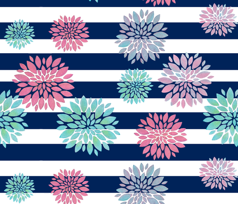 Nautic Flowers fabric by kurull on Spoonflower - custom fabric