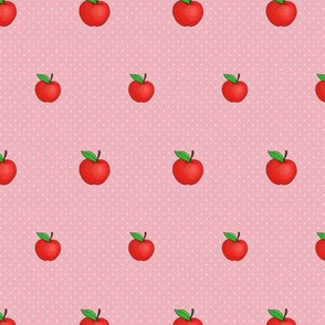 Small Red Apples on spotty dusky pink