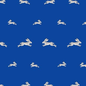 Little Grey Hares on Royal Blue
