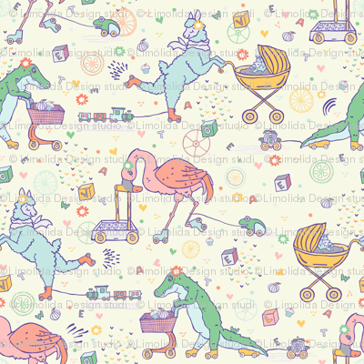 Meet Alpaca, Crocodile & Flamingo Rollerskating  Mama's  & their Toys on Four Wheels