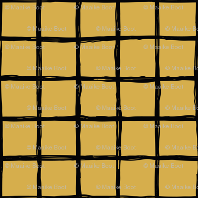 Abstract geometric minimal checkered check grid black stripe trend pattern mustard ochre yellow