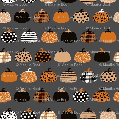Fall fruit geometric pumpkin design scandinavian style halloween print black and charcoal gray orange