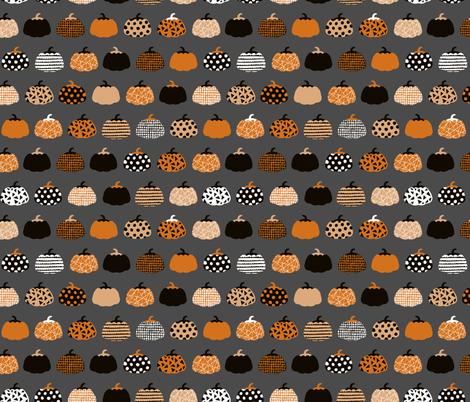 Fall fruit geometric pumpkin design scandinavian style halloween print black and charcoal gray orange fabric by littlesmilemakers on Spoonflower - custom fabric