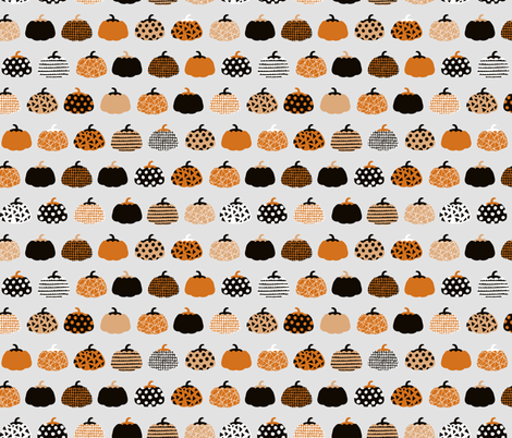 Fall fruit geometric pumpkin design scandinavian style halloween print black and light gray orange fabric by littlesmilemakers on Spoonflower - custom fabric