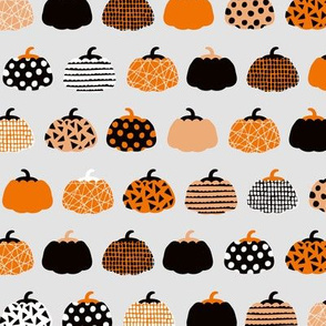 Fall fruit geometric pumpkin design scandinavian style halloween print black and light gray orange