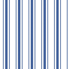 Mattress Ticking Wide Striped Pattern in Dark Blue and White