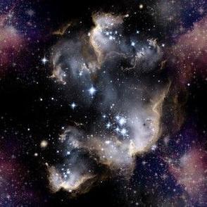 wispy nebulae on black background