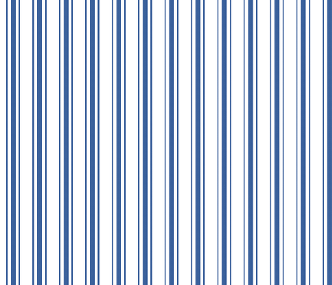 Mattress Ticking Narrow Striped Pattern in Dark Blue and White fabric by paper_and_frill on Spoonflower - custom fabric