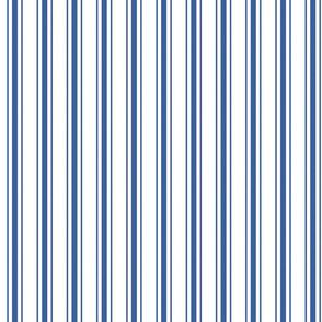 Mattress Ticking Narrow Striped Pattern in Dark Blue and White