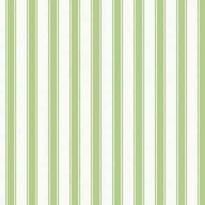 Greenery and White Mattress Ticking Stripes