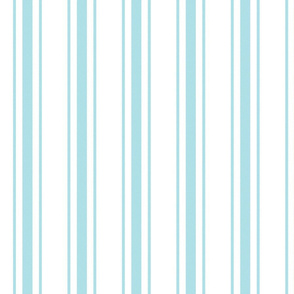 Pale Sky Blue and White Striped Mattress Ticking