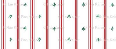 Red Pillow Ticking + Pine Trees