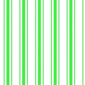 Mattress Ticking Wide Striped Pattern in Neon Green and White