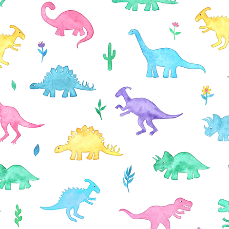 Pastel Watercolor Dinos on White fabric by micklyn on Spoonflower - custom fabric