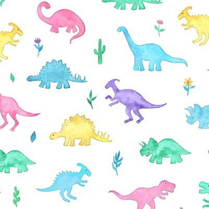Pastel Watercolor Dinos on White