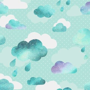 Watercolour Clouds - mint teal