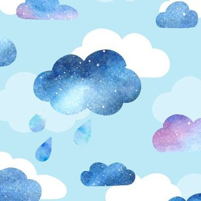 Watercolour Clouds - blue