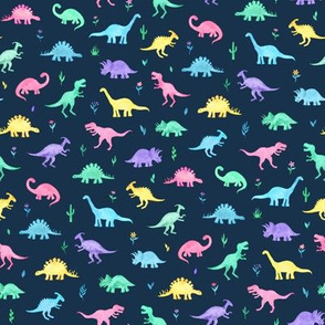 Pastel Watercolor Dinos on Navy Blue - small