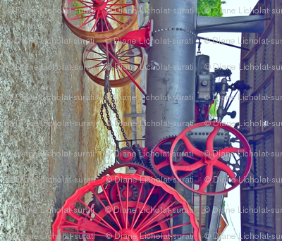 Antique Farm Wheels  & Gears Steampunk color-corrected flipped