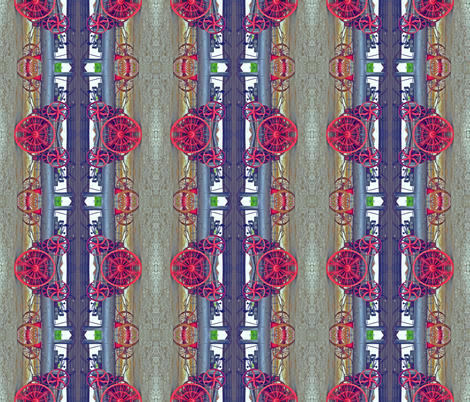 Antique Farm Wheels  & Gears Steampunk color-corrected flipped fabric by zsmama on Spoonflower - custom fabric