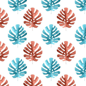 Monstera Leaves Watercolor Aqua Blue and Coral