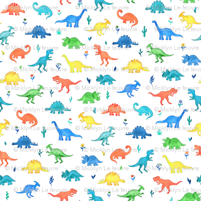 Primary Colors Watercolor Dinos on White