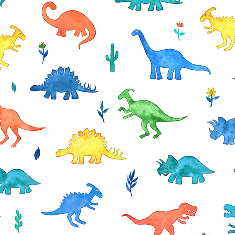Primary Colors Watercolor Dinos on White fabric by micklyn on Spoonflower - custom fabric