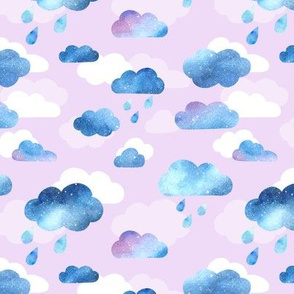 Watercolour Clouds - blue and lilac