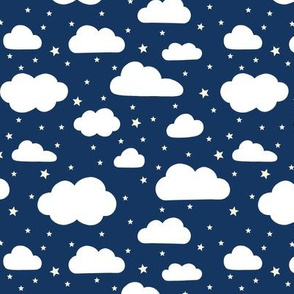 Night Sky - Fluffy white clouds and stars on navy
