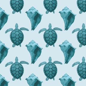 Sea Turtles & Conch Shells in Aqua & Blue Tones