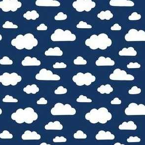Fluffy White Clouds on Navy - small