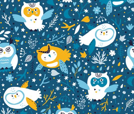 Owl night fabric by yuliia_studzinska on Spoonflower - custom fabric