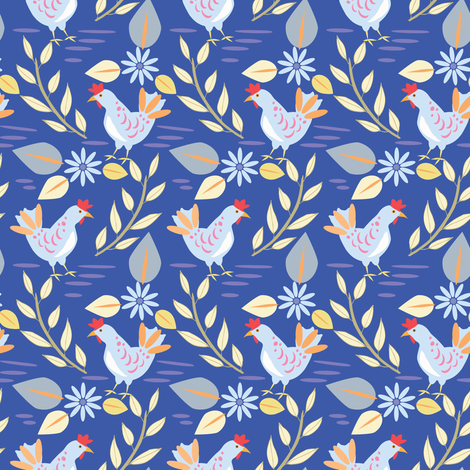 Layla's Chickens, Cobalt fabric by katie_hayes on Spoonflower - custom fabric