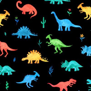 Primary Colors Watercolor Dinos on Black