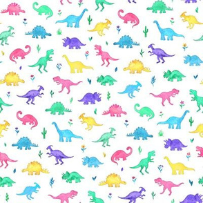 Bright Watercolor Dinos on White - small