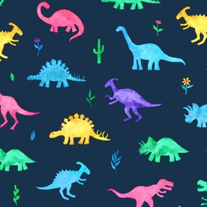 Bright Watercolor Dinos on Navy Blue