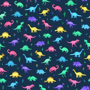 Bright Watercolor Dinos on Navy Blue - small