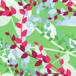 Abstract floral pattern with spring leaves in pink and green colors
