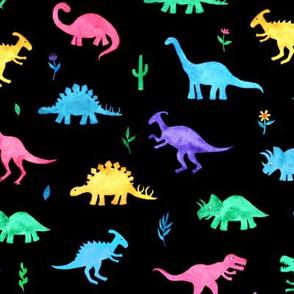 Bright Watercolor Dinos on Black