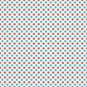 Aqua & Coral Red Polka Dot Pattern on White