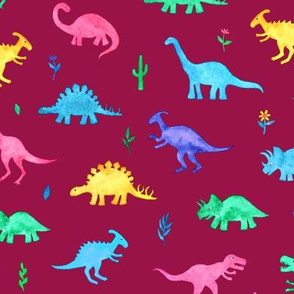 Bright Watercolor Dinos on Berry Red